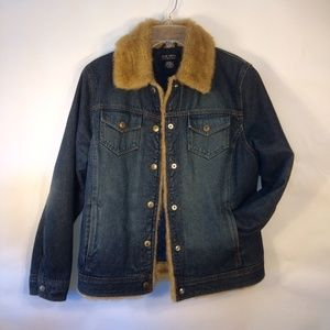 NY & Co |  Lined Jeans Jacket with Faux Fur Collar